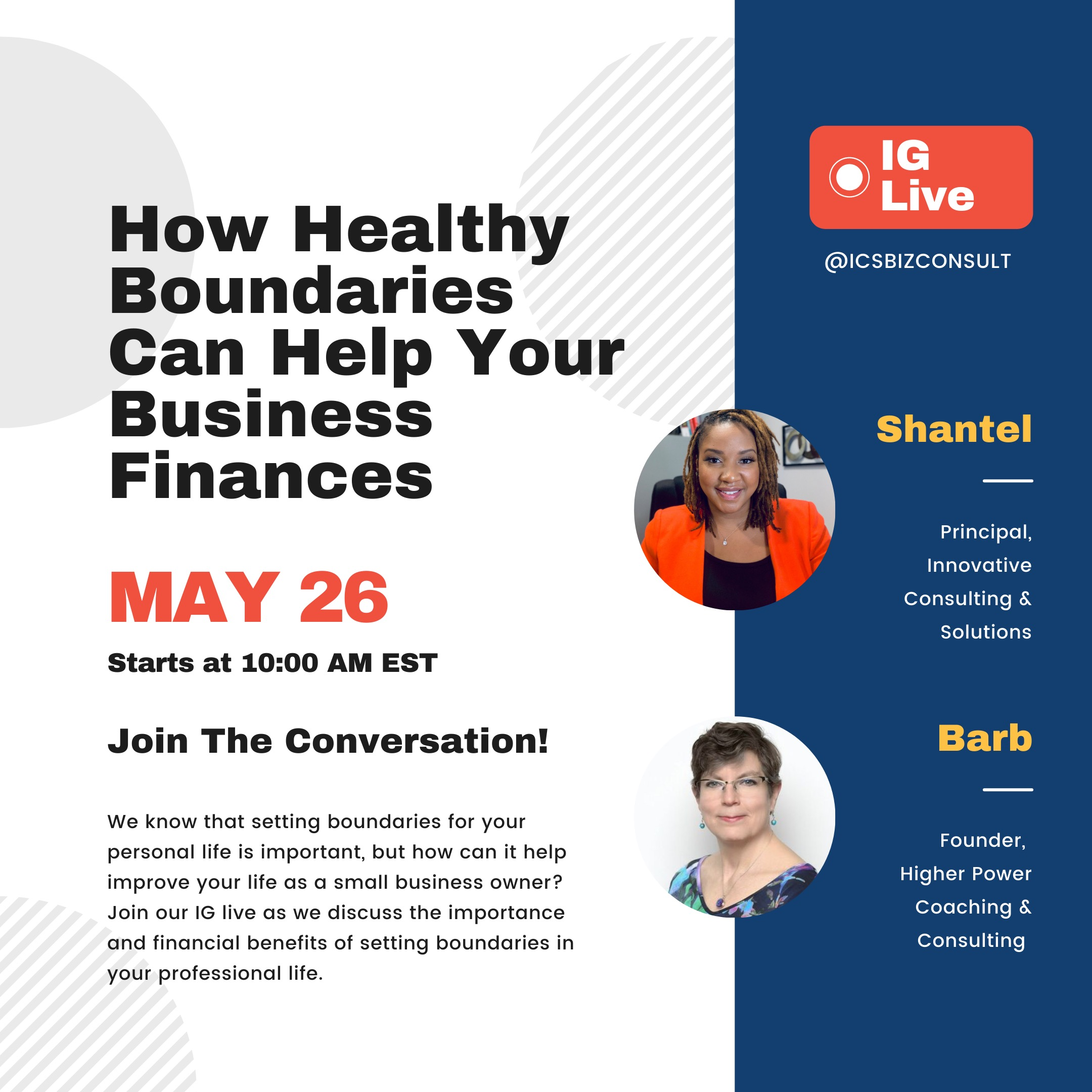 Shantel and Barb FB live for boundaries with business finance 5-26-32